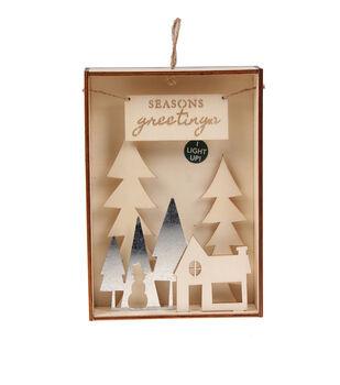 Handmade Holiday Craft Wood & Metal Shadowbox-House & Season's Greetings