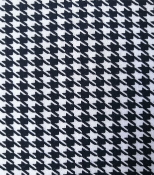 Refined Ponte Knit Fabric-Black & White Houndstooth Plaid