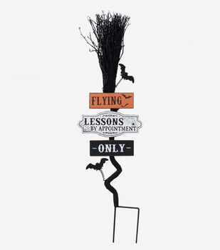 Maker's Halloween Broom Yard Stake-Flying Lessons by Appointment Only