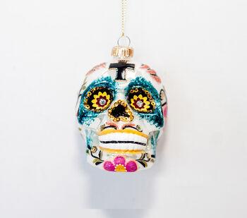 Handmade Holiday Christmas Sugar Skull Ornament