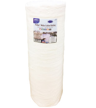 "Pellon White Cotton Batting with Scrim 90""x40yd Roll-Needle Punched"