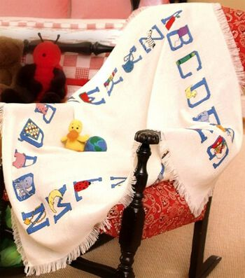 Charles Craft Baby Afghan Cloth Alphabet
