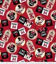 Disney Fleece Fabric -Minnie Badges, , hi-res