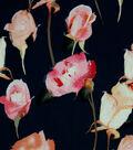 Silky Stretch Crepe Fabric 57\u0022-Dark Blue Stems
