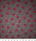 Premium Cotton Print Fabric 44\u0027\u0027-Metallic & Circle Waves on Gray
