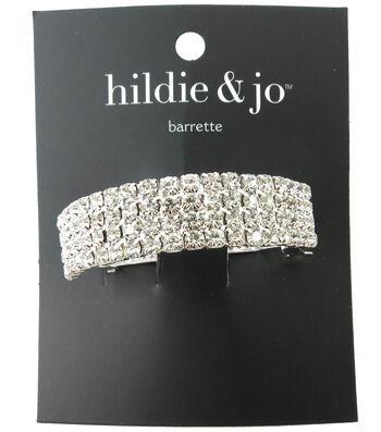 hildie & jo Silver Barrette-Clear Round Crystals