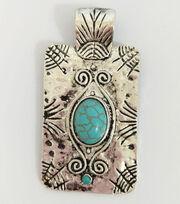 hildie & jo Rectangular Pendant-Turquoise, , hi-res