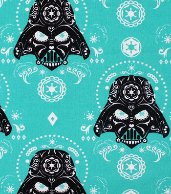 "Star Wars Cotton Fabric 44""-Darth Vaders Sugar Skulls"