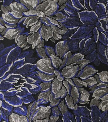 Jacquard Fabric-Blue/Silver Metallic Floral