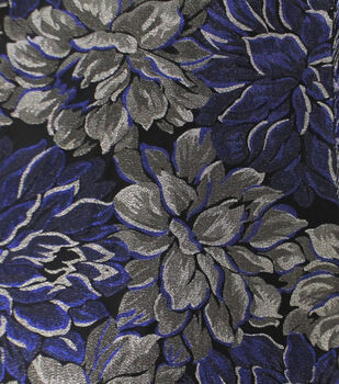 a67ba1d351c Jacquard Fabric-Blue Silver Metallic Floral