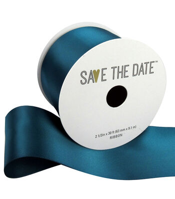 """Save the Date 2.5"""" x 30ft Ribbon-Teal Satin"""