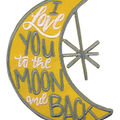 Simplicity Moon Shaped Iron-on Applique-I Love You to the Moon & Back
