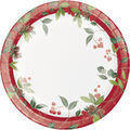 Handmade Holiday Christmas 8 pk 9\u0027\u0027 Paper Dinner Plates-Holly Berries