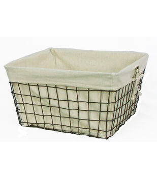 "Organizing Essentials 16''x16''x9"" Wire Basket with Ivory Liner"
