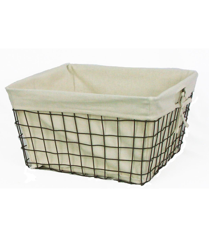 Organizing Essentials 16u0027u0027x14u0027u0027 Wire Basket with Ivory Liner  sc 1 st  Joann & Storage Baskets - Wicker u0026 Wire Baskets | JOANN