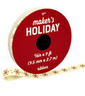 Maker\u0027s Holiday Christmas Ribbon 3/8\u0027\u0027x9\u0027-Rose Gold Snowflakes on Ivory