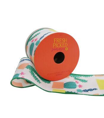 "Fresh Picked Summer Printed Ribbon 2.5""x12'-White"