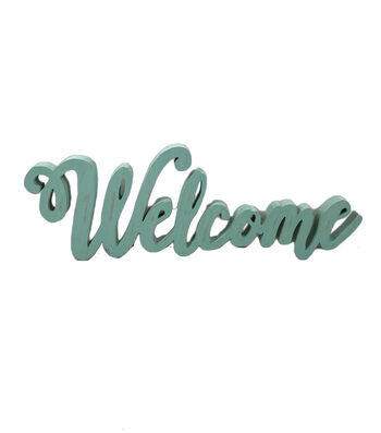 Hello Spring Welcome Script Wood Wall Decor-Blue