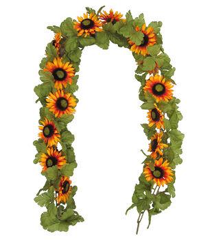 Blooming Autumn 66'' Sunflower Chain Garland-Orange