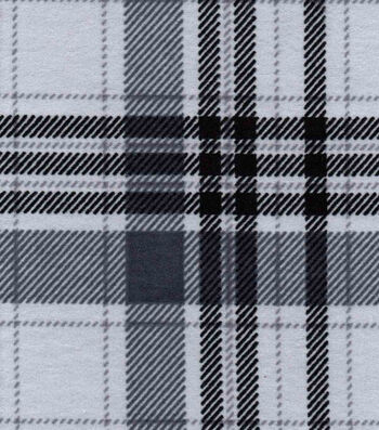Snuggle Flannel Fabric 42''-Gray Plaid