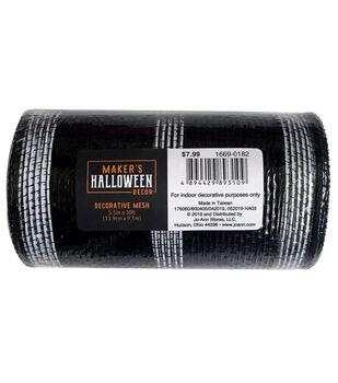 Maker's Halloween Decor Decorative Mesh 5.5''x30'-Black & White Stripes