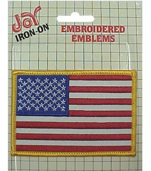 "Wrights Iron-On Applique-American Flag -2-1/2""X3-1/2"""