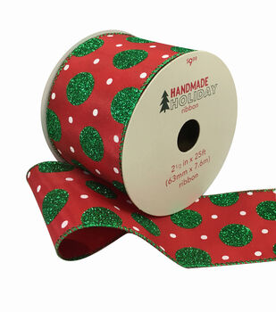 Handmade Holiday Ribbon 2.5''x25'-Green Glitter & White Dots on Red