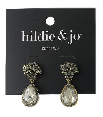 hildie & jo Gold Earrings-Gray Crystals