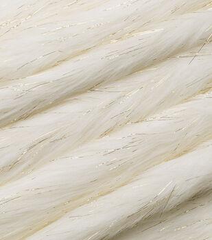 Fashion Faux Fur Fabric -Ivory Gold Metallic