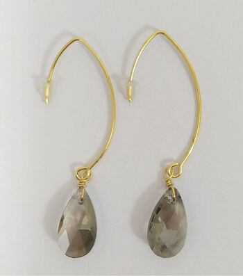 hildie & jo Gold Earrings-Smoky Teardrops