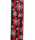 Maker\u0027s Holiday Christmas Ribbon 1.5\u0027\u0027x30\u0027-Snowflakes on Red & Black