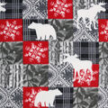Anti-Pill Plush Fleece Fabric-Bristol Bear Moose Snowflake Patch