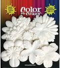 Petaloo Color Me Crazy Flowers-60PK/White
