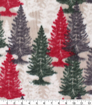 Anti-Pill Plush Fleece Fabric-Red & Green Trees Holiday