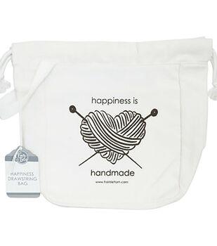 Fair Isle Yarn Canvas Drawstring Wrist Bag-Happiness is Handmade