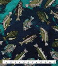 Novelty Cotton Fabric-Tossed Fish Green