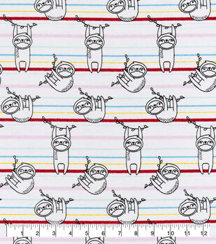 Snuggle Flannel Fabric-Lined Sloth on Stripes