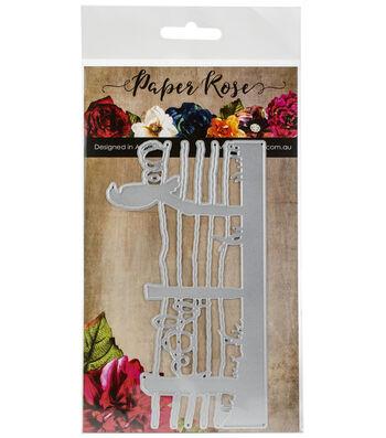 Paper Rose 6''x3.14'' Metal Die-Bird on Wire Fence