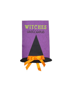 Maker's Halloween 12''x18'' Flag-Witches Welcome & Figural Hat