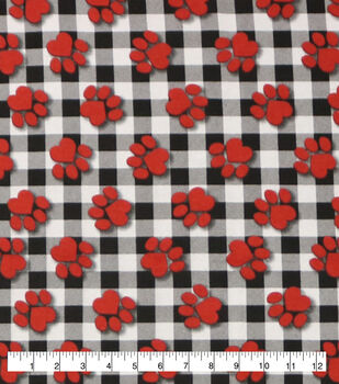 Super Snuggle Flannel Fabric-Paw Prints On Buffalo Check