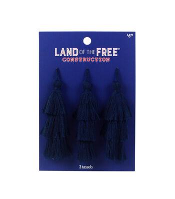 Land of the Free Tassels 3/Pkg-Blue