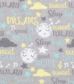 Nursery Flannel Fabric-Good Night Words