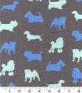 Snuggle Flannel Fabric -Blue Dog Silhouette