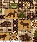 Anti-Pill Fleece Fabric 58\u0022-Bear Lake Cabin Patch