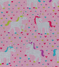 Novelty Cotton Fabric 43\u0022-Unicorns & Hearts
