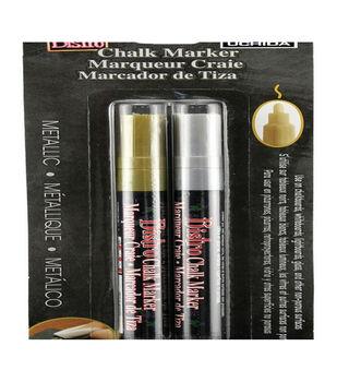 Marvy Uchida Bistro 2 pk Fine Point Chalk Markers-Metallic Gold & Silver