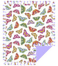No Sew Fleece Throw 72\u0022-Multi Color Sketched Butterfly