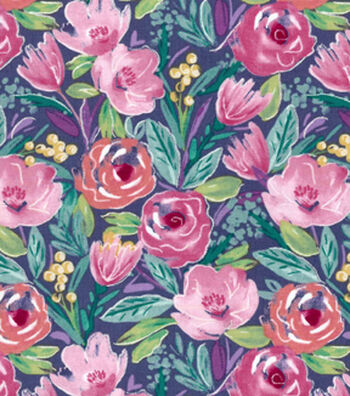 Premium Cotton Print Fabric 43''-Watercolor Floral on Navy