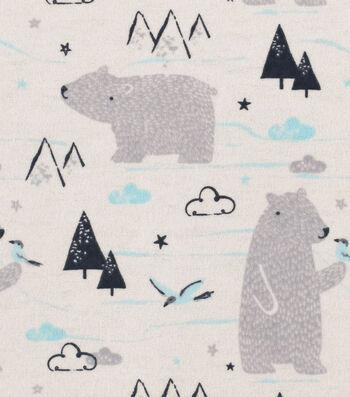 "Snuggle Flannel Fabric 42""-Sketched Polar Bear"