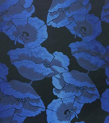 Brocades Fabric -Poppy Royal/Black